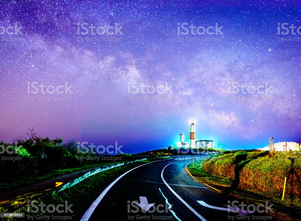 Road to the magic lighthouse stock photo