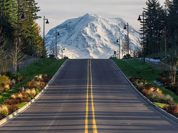 road to the mountain Rainier empty road to the Mountain Rainier, Seattle, WA, US. mt rainier stock pictures, royalty-free photos & images