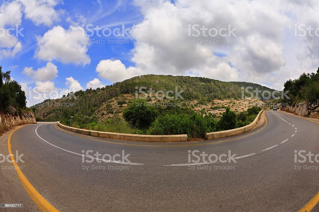 "Road to the mountains, photographed by "" Fish eye royalty-free stock photo"