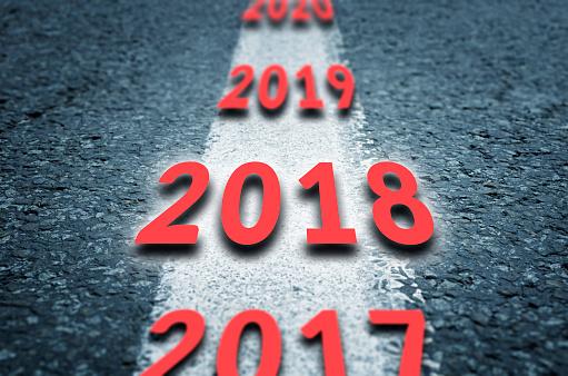 Road To The Next Years - Fotografie stock e altre immagini di 2017