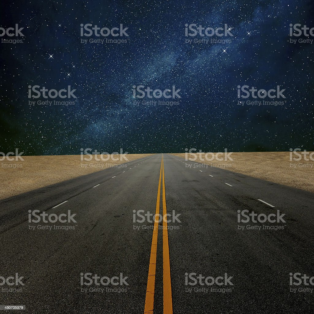 Road to the nice star at night stock photo