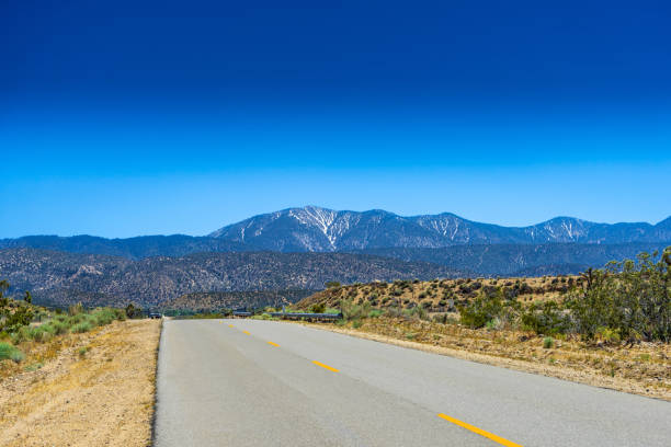 Road to the San Gabriel Mountains with a view of Mount Baden-Powell in the Angeles Crest National Forest in California stock photo