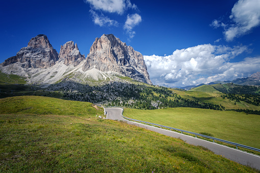 Road to the Sassolungo group, The Dolomites, Italy