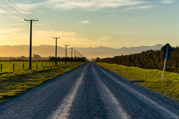 Road To The Southern Alps, New Zealand stock photo