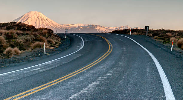 Road to the volcano stock photo