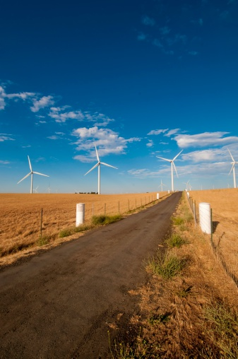 Road To Wind Power Stock Photo - Download Image Now
