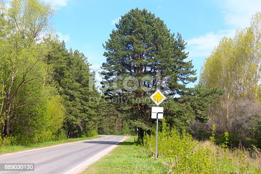Road to wood with signs: 2.1