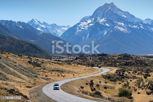Road toaward Mount Cook, New Zealand