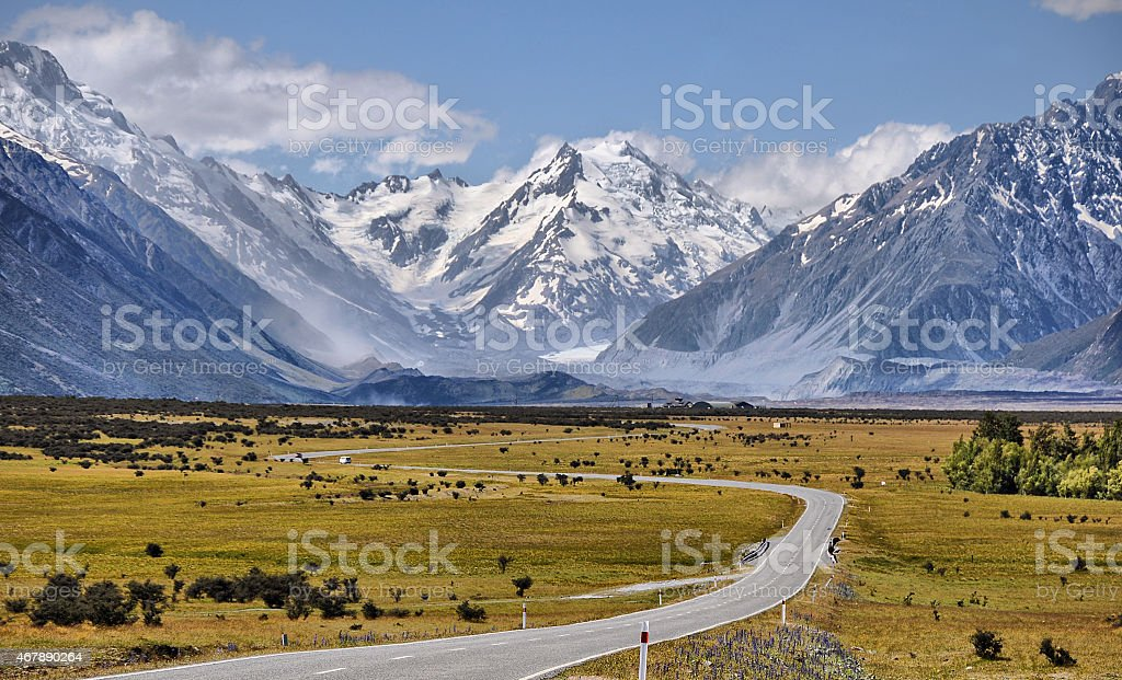 Road toaward Mount Cook, New Zealand stock photo