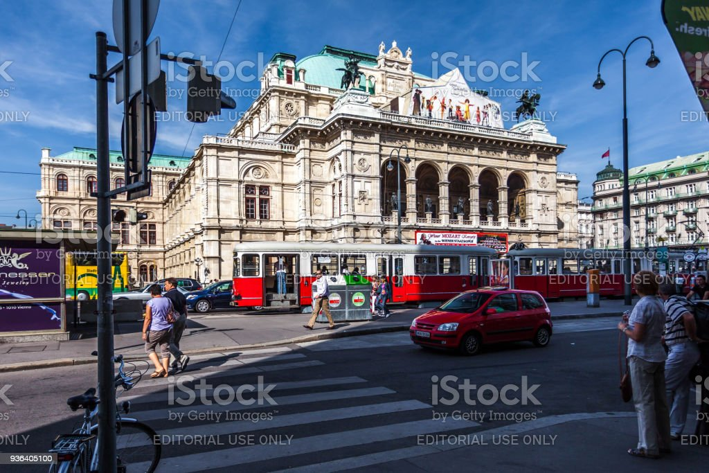 Road traffic in front of the Vienna State Opera. stock photo