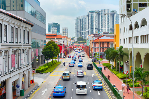Road Traffic In Singapore Chinatown Stock Photo - Download Image Now