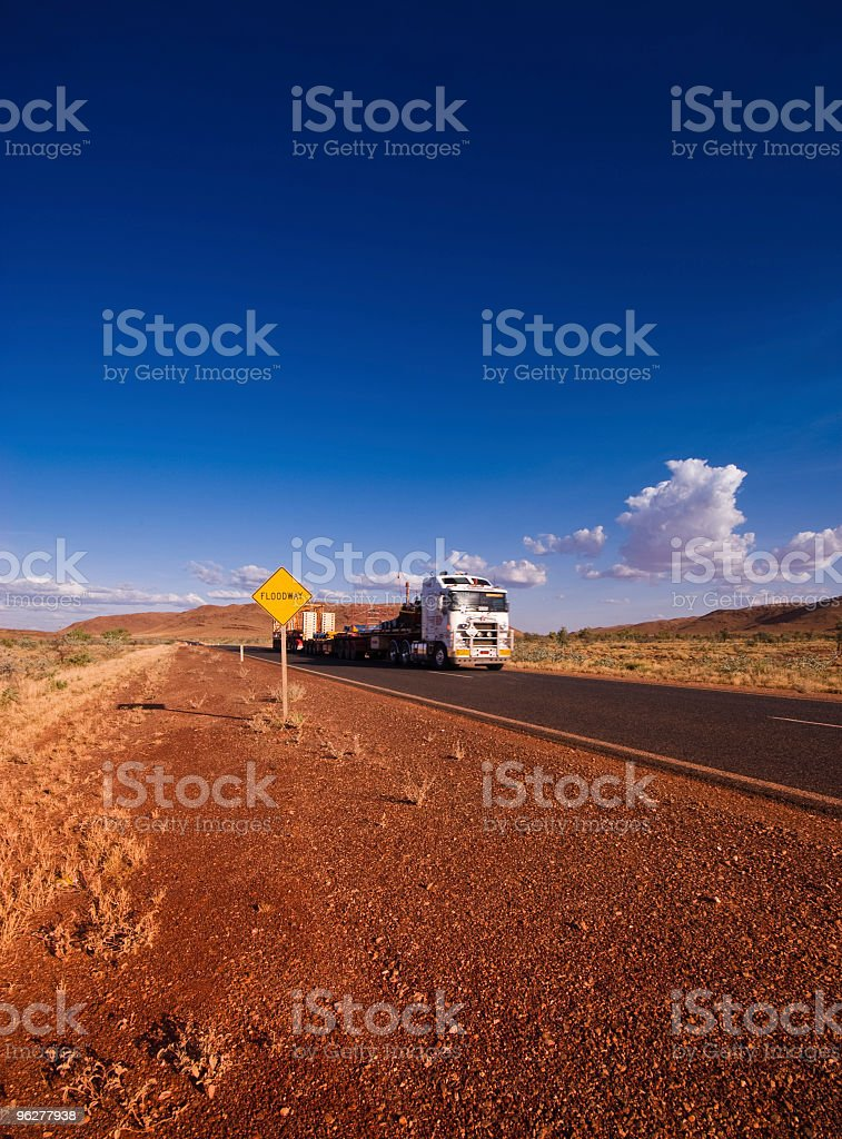 Road Train in Pilbara Western Australia royalty-free stock photo