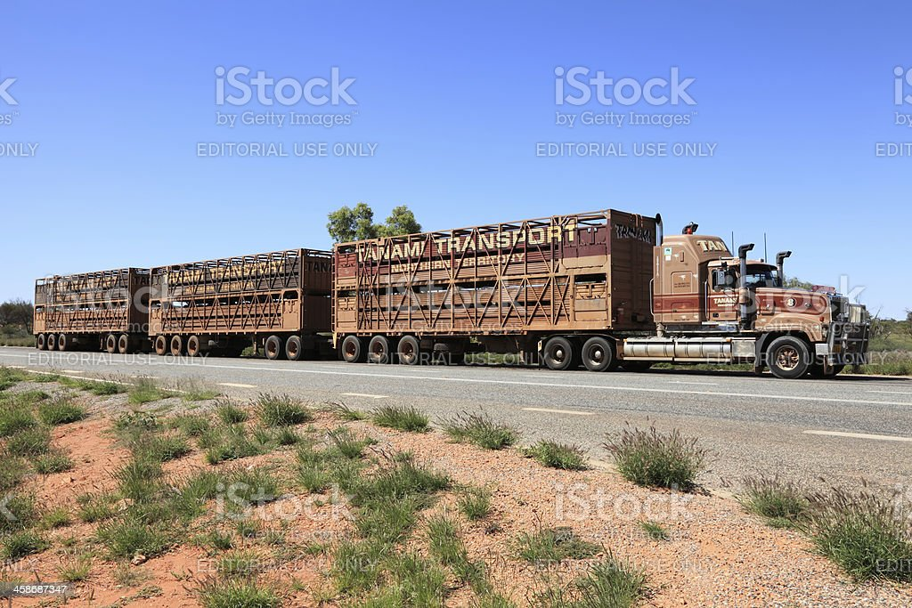 Road train parked on side of highway royalty-free stock photo