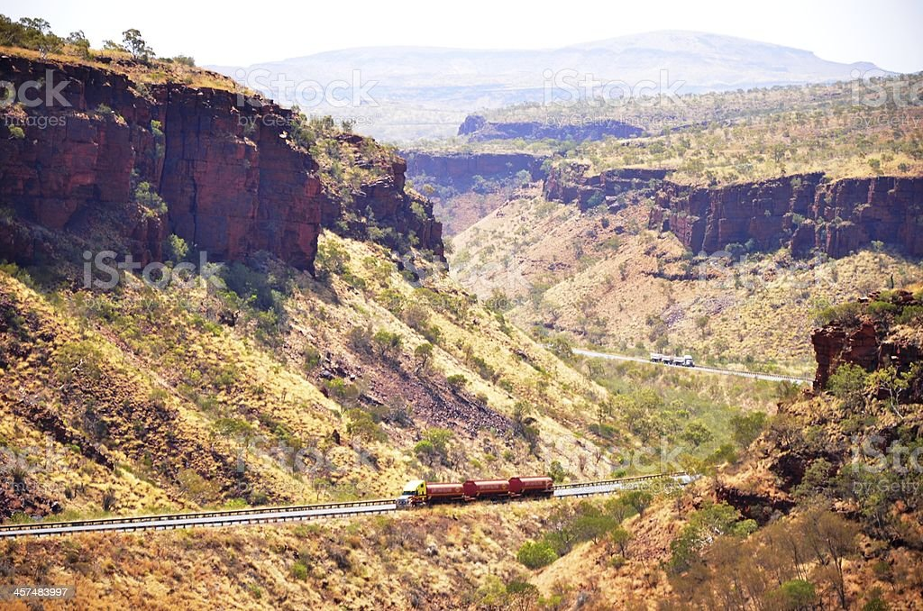 Road Train Truck, through a valley, Pilbara WA royalty-free stock photo