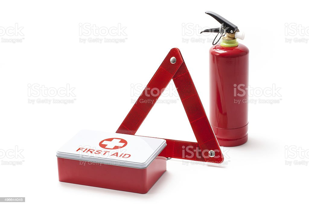 Road Triangle Fire Extinguisher And First Aid Kit stock photo