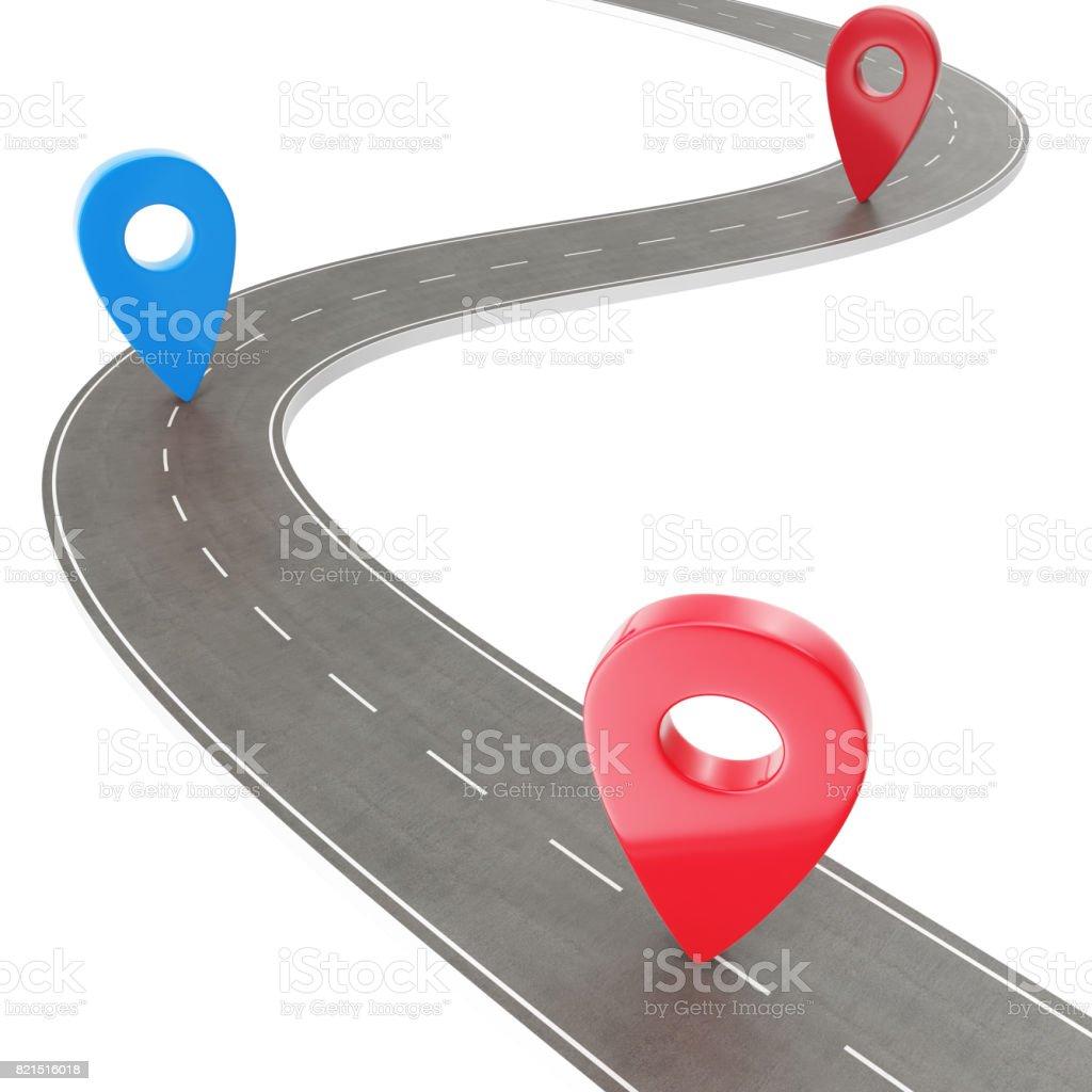 Road trip et itinéraire de voyage. Route sinueuse sur fond blanc avec aiguille de Pin. Modèle d'infographie de location route façon avec aiguille de pin, rendu 3d - Photo