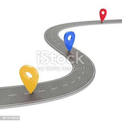 istock Road trip and Journey route. Winding Road on a white background with Pin Pointer. Road way location infographic template with pin pointer, 3d Rendering 821516026