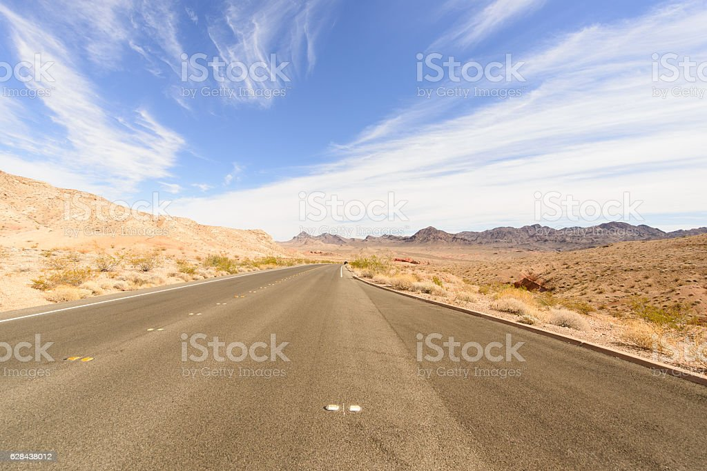 Road trip and mountain area stock photo