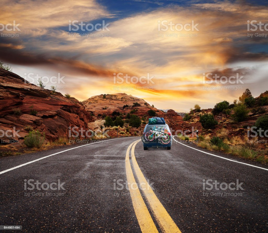 Road trip at sunset stock photo