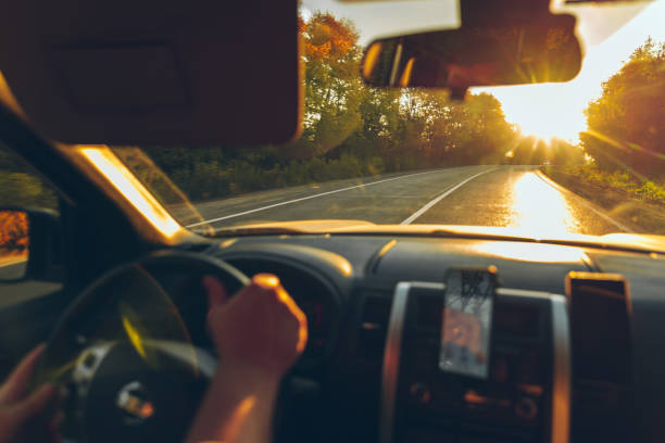 road trip concept man hands on steering wheel navigation on the phone autumn fall season stock photo