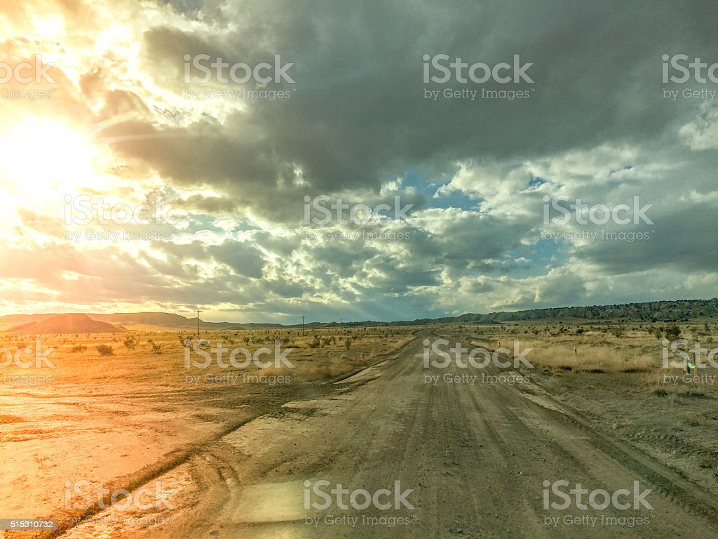 road trip desert landscape stock photo