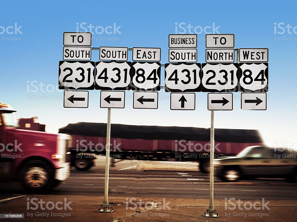 Road Trip Directional Signs royalty-free stock photo