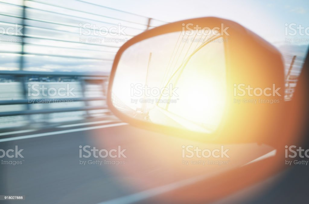 Road Trip Driving Over Bridge stock photo