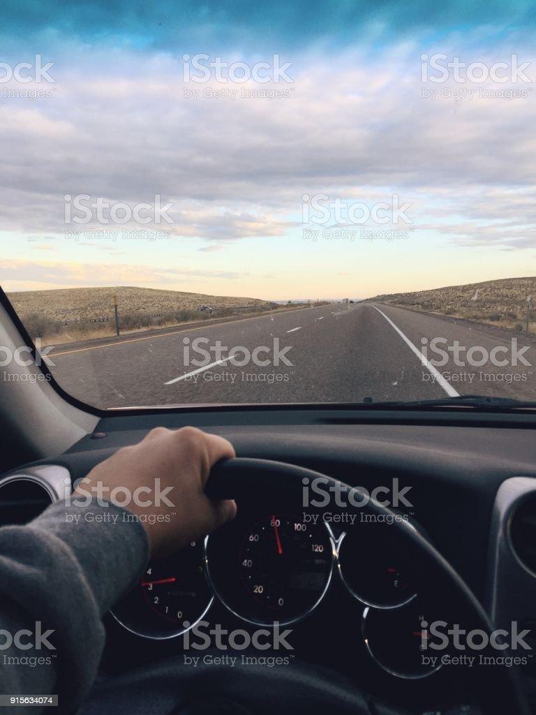 Road Trip Driving Window Views stock photo