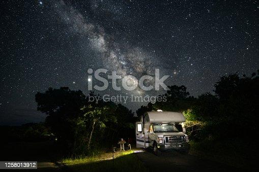 RV in campground under the milky way