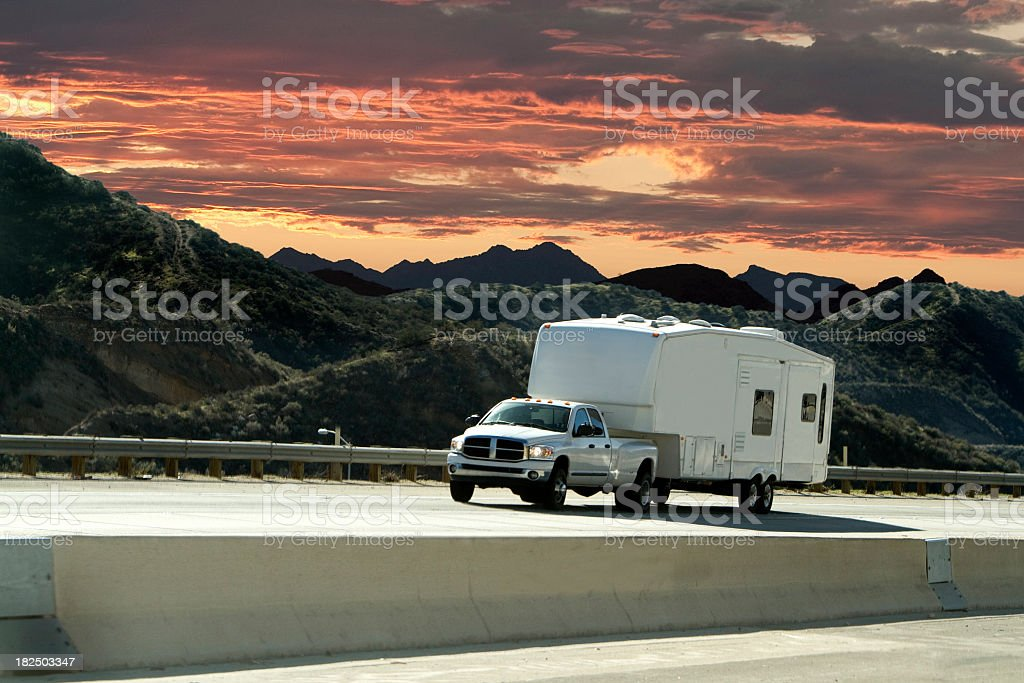 road trip sunset stock photo