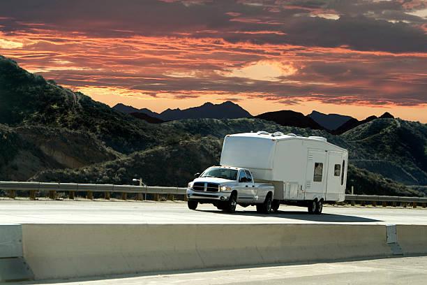 road trip sunset stock photo