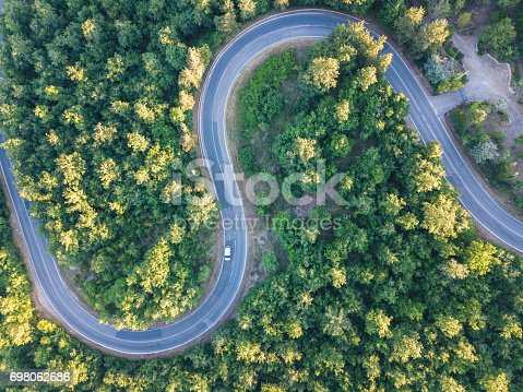 Road trip through a forest - Aerial point of view
