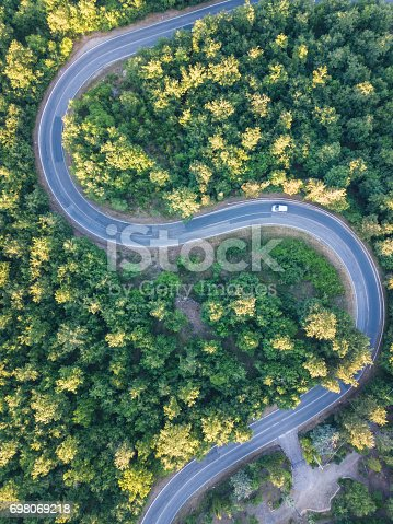 istock Road trip through a forest - Aerial point of view 698069218