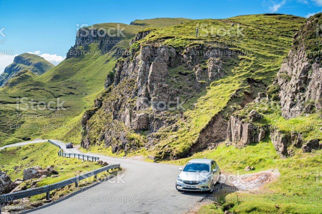 Road trip to Quiraing Isle of Skye Scotland stock photo