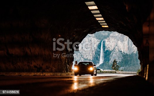 Car accessing a Tunnel in Yosemite National Park