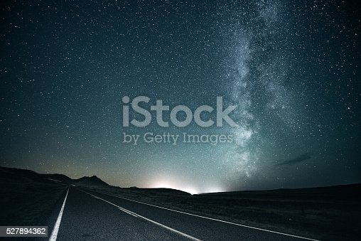 Lonely road under the milky way