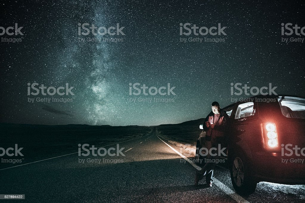 Road trip under the milky way bildbanksfoto