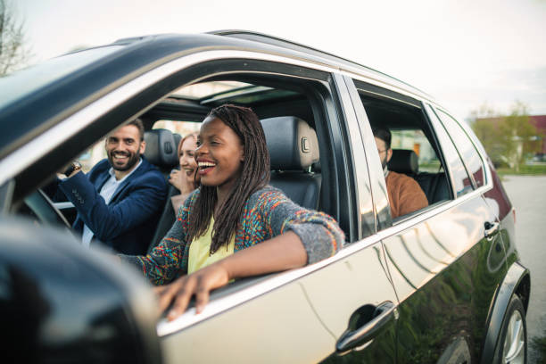 Road trip with best friends stock photo