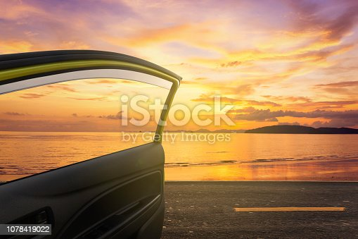 road trips at sea sunset