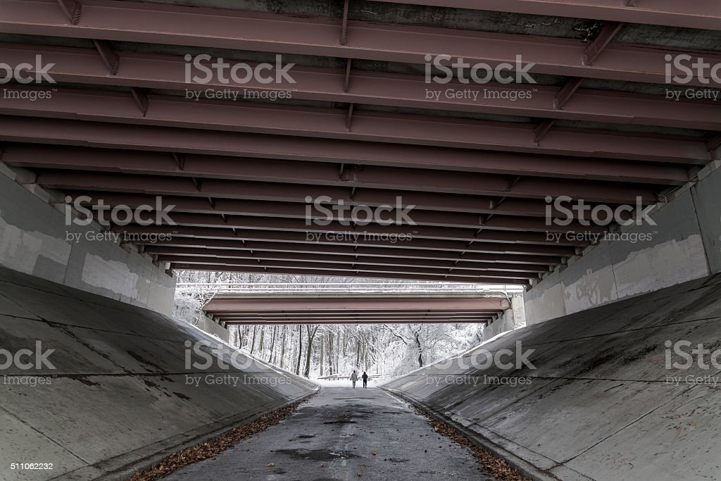 Road under the bridge in the winter park after snowfall stock photo