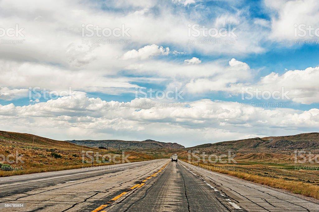 Road views in Wyoming towards Casper stock photo
