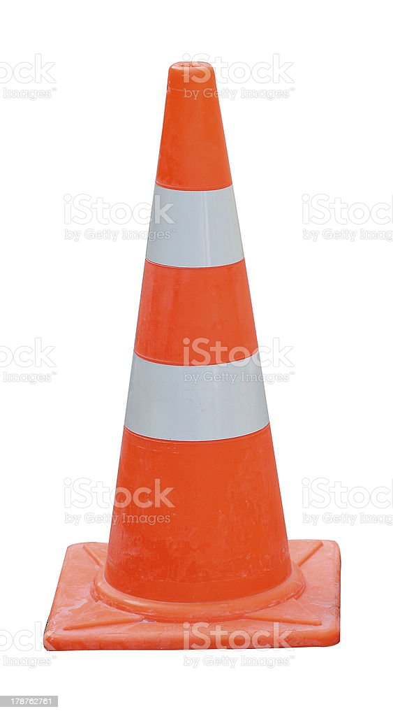 Road warning cone isolated on white royalty-free stock photo