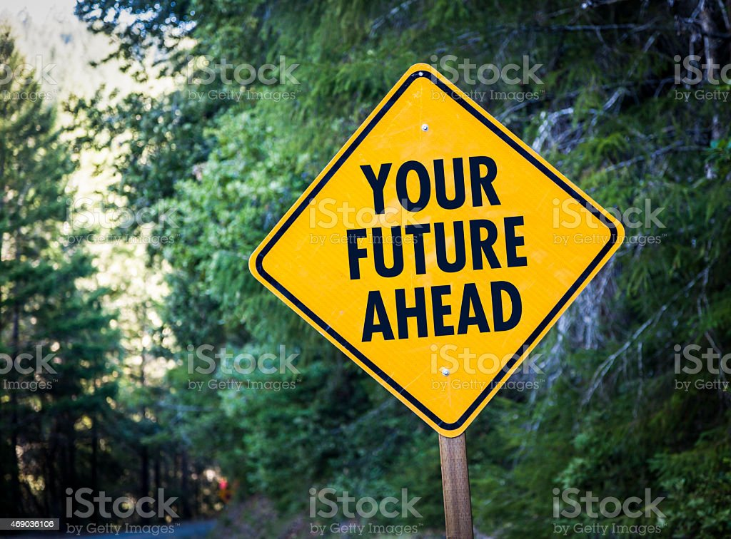 Road Warning sign Future stock photo