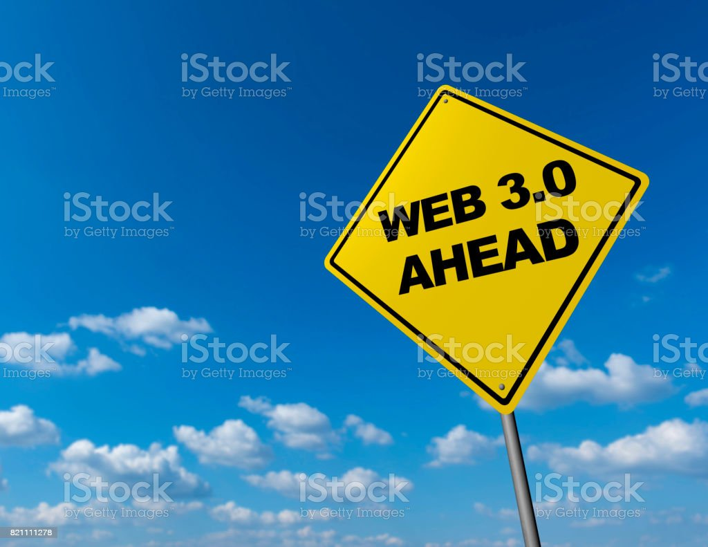 WEB 3.0 AHEAD - Road Warning Sign stock photo