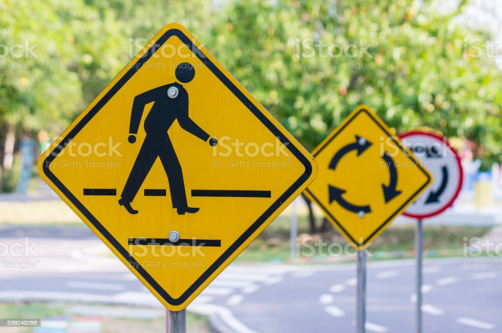 road warning sign with sky with man walking symbol royalty-free stock photo