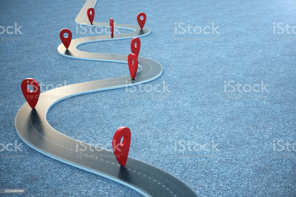 Road way location Infographic with pin pointers. Road way with red pointers. 3D illustration Road way location Infographic with pin pointers. Road way with red pointers, 3D illustration Abstract Stock Photo