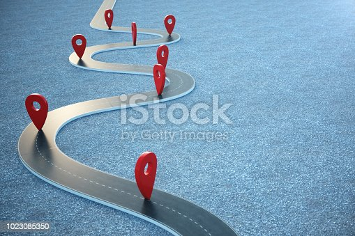 Road way location Infographic with pin pointers. Road way with red pointers, 3D illustration