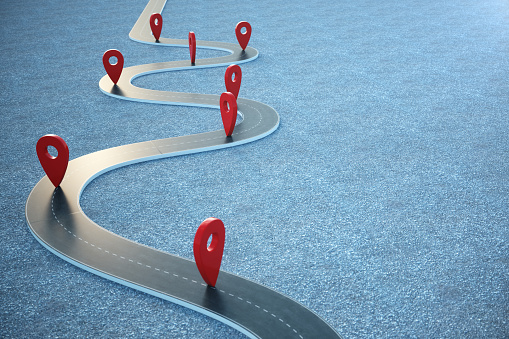 istock Road way location Infographic with pin pointers. Road way with red pointers. 3D illustration 1023085350