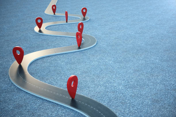 road way location infographic with pin pointers. road way with red pointers. 3d illustration - in a row stock pictures, royalty-free photos & images