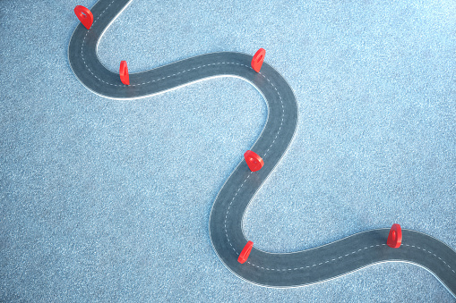 istock Road way location Infographic with pin pointers. Road way with red pointers. 3D illustration 1023085352